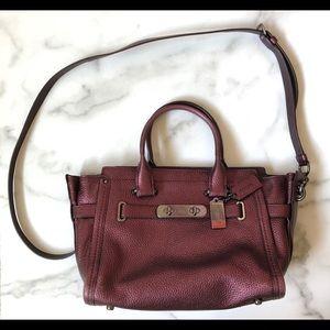 COACH Hobo Shoulder Purple Plum Burgundy Leather